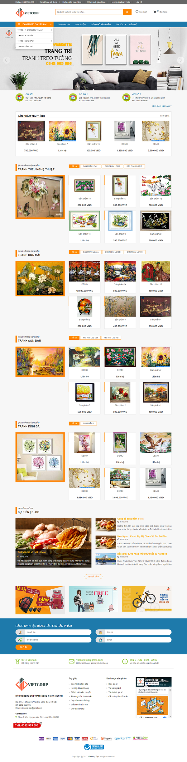 Mẫu Website Bán Tranh Nghệ Thuật
