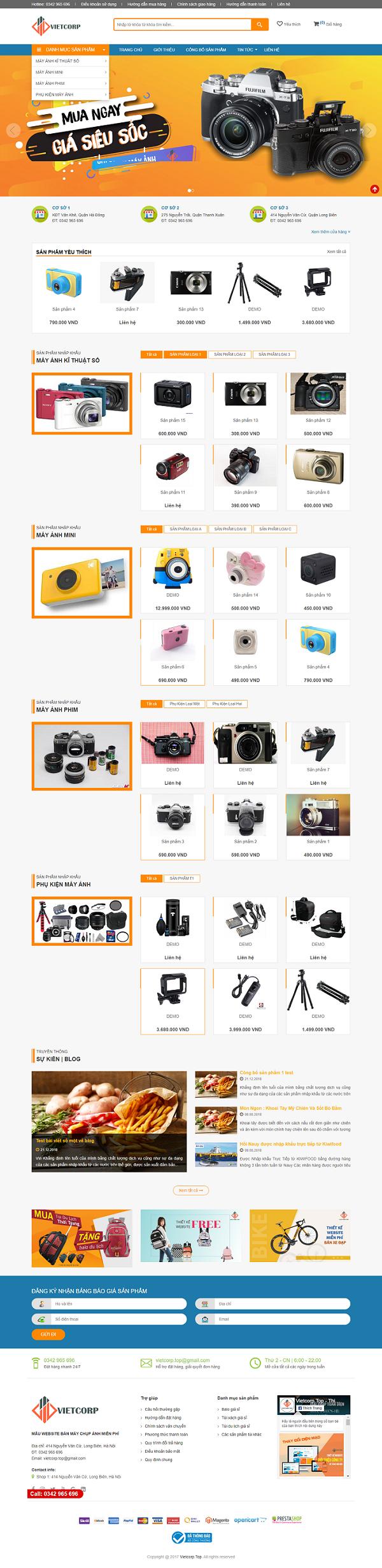 Mẫu Website Bán Máy Chụp Ảnh