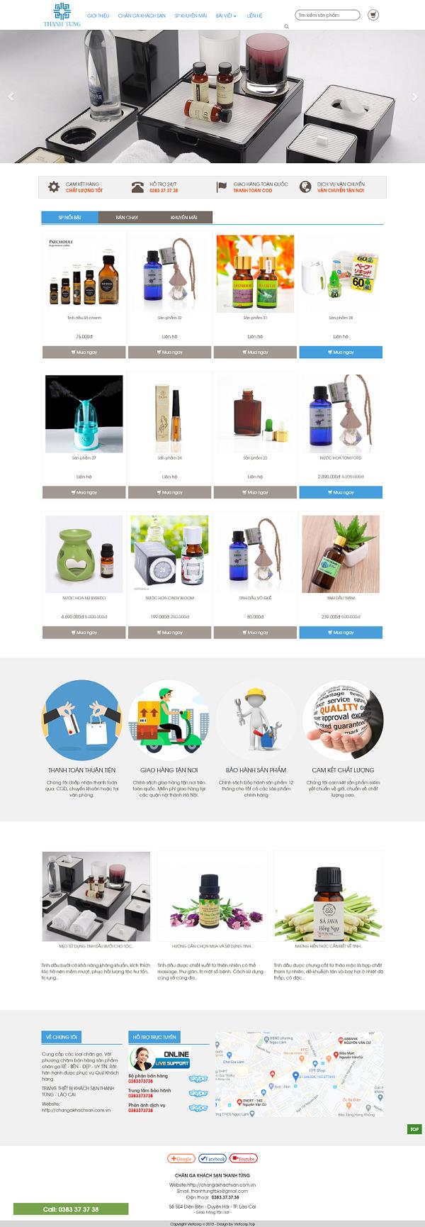 Mẫu Website Bán Chăn Ga Khách Sạn