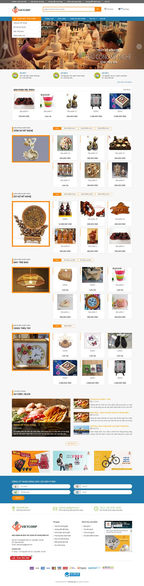 Mẫu Website Bán Thủ Công Mỹ Nghệ