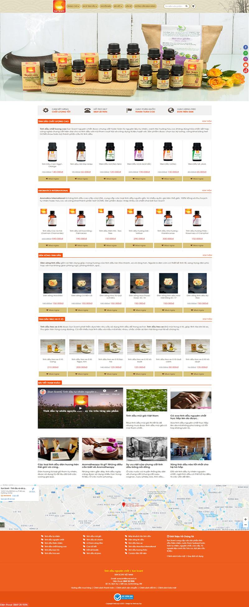 Mẫu Website Bán Tinh Dầu Nguyên Chất
