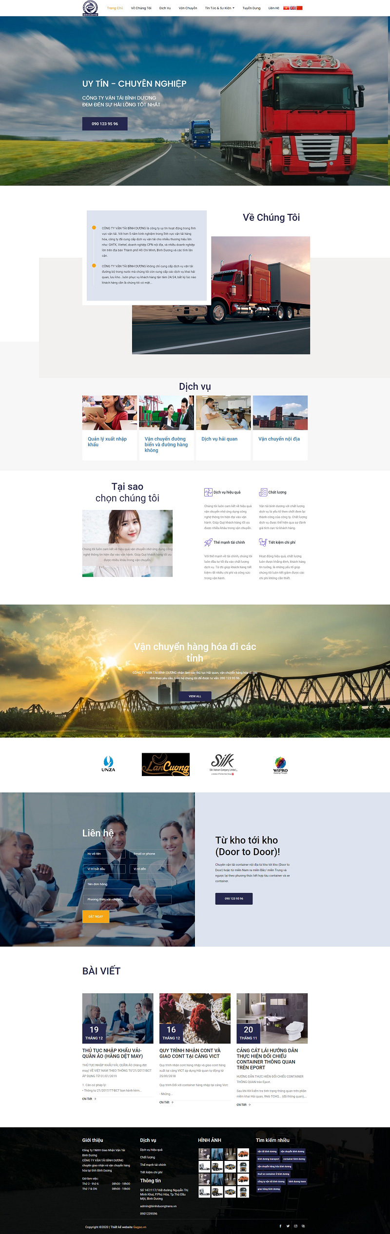 Mẫu Website Vận Tải